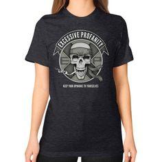 ProfaniTee V3, by Brucey Teriyakiv Unisex T-Shirt (on woman)
