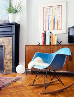 Blue Eames rocker.