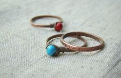 Turquoise and coral ring  copper jewelry  set of by JD4dreamer, $32.00