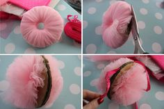 DIY pink tulle pompom decorations. Really lovely. You could make these, in white, on the large pompom maker, and they would look like snowballs :-) x