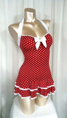 Polka Dot Mini Dress, Sweetheart Neckline, Double Ruffle Hem, Halter Straps  Bombshell Sz  S/M/L on Etsy, $70.00