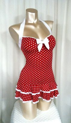 Polka Dot Mini Dress, Sweetheart Neckline, Double Ruffle Hem, Halter Straps Bombshell Sz S/M/L on Etsy, $70.00 I want this now ❤