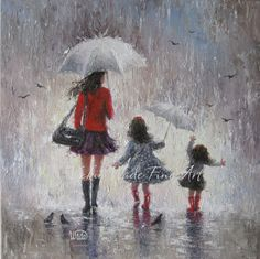 Rainy Day Walk With Mom Original Oil Painting, mother, two daughters, motherhood wall decor, Vickie Wade on Etsy, $225.00