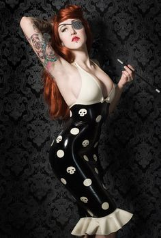 Latex Skully dot V halterneck frill dress by Lady Lucie