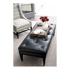 Townsend Leather Ottoman from Crate & Barrel