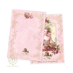 Marie Antoinette note cards pink roses tea party by mulberrymuse