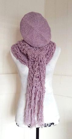 Loveknot hat and scarf by KnotSoKnaffKnits on Etsy Crochet Beret, Cotton Crochet, Green Beret, Shawls, Green Colors, Tassels, Hat, Stitch, Pink