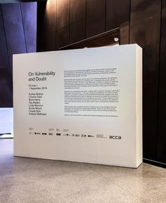 - On Vulnerability + Doubt. Title Wall Exhibition Vinyl Text by decently exposed Museum Exhibition Design, Exhibition Display, Design Museum, Word Design, Text Design, Exibition Design, Donor Wall, Directional Signage, Wall Text