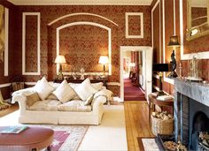 Red and gold drawing room Gold Drawing, Drawing Room, Georgian Interiors, Hotel Decor, Countryside, Living Room, Luxury, Red, House