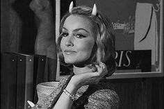 """Celebrities you might have forgotten were on The Twilight Zone: Julie Newmar """"Of Late I Think of Cliffordville"""" Season Episode 14 Everyone's favorite Catwoman trades in her feline ears for devil horns as an employee of Hell. Timeless Series, Classic Series, Classic Tv, Julie Newmar, Twilight Zone Episodes, Psychological Horror, Anthology Series, Gif Animé, Celebs"""