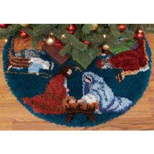 WONDERART ORNAMENTS CHRISTMAS TREE SKIRT 33 RUG LATCH HOOK KIT NEW SHINY BRITE WonderArt