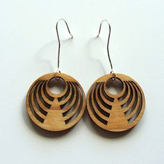 Lunar Halo  Laser Cut Wood Earring with Handcrafted by MadeByMonji, $21.00