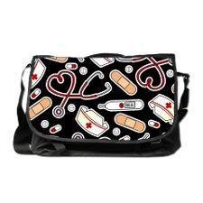 Cute Nurse Supplies Print - Black Messenger Bag for