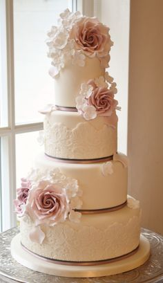 Gorgeous Lace Wedding Cake ~ Cake Design: Cotton and Crumbs Maybe with stripes on one tier Amazing Wedding Cakes, Elegant Wedding Cakes, Wedding Cake Designs, Amazing Cakes, Elegant Cakes, Rustic Wedding, Gorgeous Cakes, Pretty Cakes, Wedding Cake Inspiration