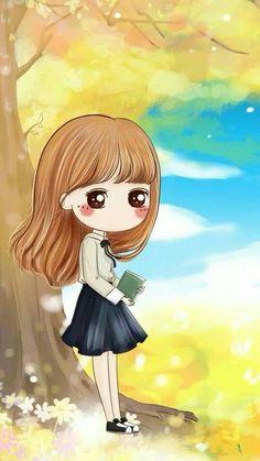 Girl under the yellow tree Cute Couple Cartoon, Cute Cartoon Girl, Cute Love Cartoons, Cartoon Art, Kawaii Chibi, Cute Chibi, Anime Chibi, Cute Girl Illustration, Cute Couple Wallpaper