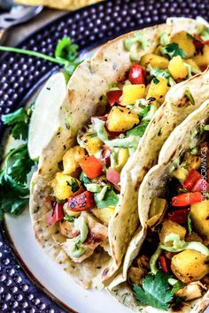 Chili Lime Tacos with Grilled Pineapple Salsa