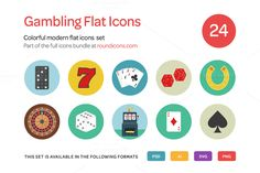 Gambling Flat Icons Set by roundicons.com on @creativemarket