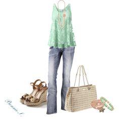 Aqua lace top, Beverly Feldman wedge sandals, Kate Spade bag, and adorable Bibi Bijoux bracelet