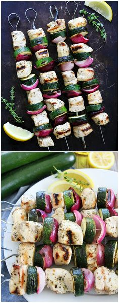 Grilled Chicken and Zucchini Kebabs Recipe on twopeasandtheirpod.com These easy chicken kebabs are the perfect summer meal! The lemon herb marinade is amazing and so easy to make!