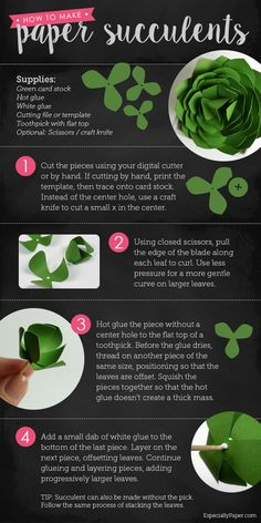 Paper Succulent Tutorial and Templates - Paper Succulent Tutorial and Templates Paper Succulent Tutorial Paper Succulents, Paper Plants, Paper Flowers Diy, Paper Roses, Flower Crafts, Fabric Flowers, Craft Paper Design, Cactus E Suculentas, Diy Fleur