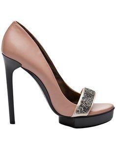 Lanvin Rose-Nude Bejeweled Open-Toe Stiletto Pumps #Shoes #Heels