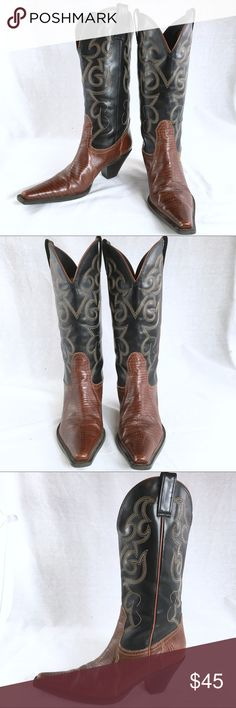 MANALYA Made in Brazil Brown Black Leather Cowboy These western Leather boots are like new! They were very gently pre-loved. MANALYA Shoes