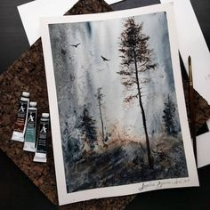 A little bit of atmosphere on this spring morning. For that painting I used not only brushes as a painting tool . Watercolor Landscape, Watercolour Painting, Painting & Drawing, Watercolor Sketchbook, Spray Painting, Watercolors, Guache, Wow Art, Art Graphique