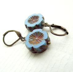 Blue flower earrings blue dangle earrings czech by jinjajewellery, £7.00