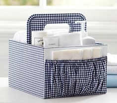 Navy Gingham Diaper Caddy. POTTERY BARN KIDS.