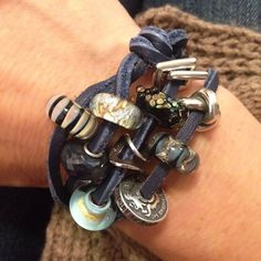 10 Beads, 5 Different Days! Day 5: No book club meeting can be boring with this remixed leather bangle from Day 2! #trollbeadsstyle #trollbeads - Get these beads and more at Trollbeads.com!