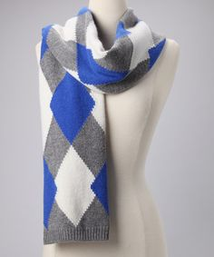 Take a look at this Blue & Gray Classic Argyle Wool-Blend Scarf by pür cashmere on #zulily today!