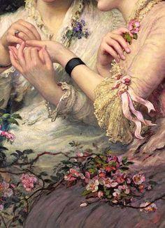 Viajando a través de la historia del arte... una espina entre rosas, detalles, por james sant, CA. 1887.