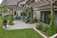 The pergolas are a beautiful accent to an already beautiful home. The Vande Hey Company, Inc.