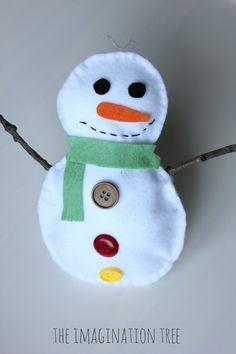 Stuffed felt snowman sewing craft for kids! The Imagination Tree