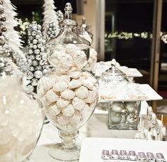 square glass vase as STAND for FOOD ... gatsby christmas parties | Naughty or Nice Holiday Dessert Table