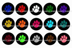 Multi-Colored Paw Print Bottle Cap Images