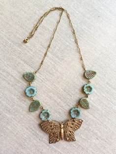 Antiqued Brass Butterfly Art Nouveau Style by maryelizabethmata Bead Jewelry, Jewelery, Jewelry Design, Jewelry Making, Bib Necklaces, Beaded Necklace, Beaded Bracelets, Bohemian Necklace, Butterfly Art