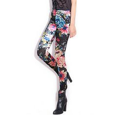 Floral Print Velvet Leggings – USD $ 36.99