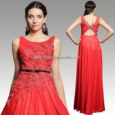 Red Wedding Gown - Open Back Flower $219.29 (was $257.99) Click here to see more details http://shoppingononline.com/wedding-gowns/red-wedding-gown-open-back-flower.html #RedWeddingGown #RedDress #OpenBack #FlowerWeddingGown #SexyWeddingGown #SexyDress