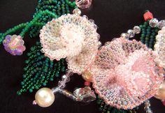 3 Pink Beaded Rose Necklace Earrings Set VIRR by VIRR on Etsy