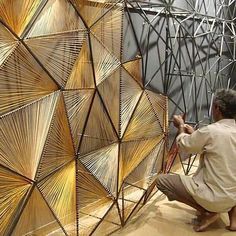 This would be beautiful as a room divider in a s mall space PRO // thread mural by Vaibhav Soparkar ➕ Diy Home Decor, Room Decor, Wall Decor, String Art, Installation Art, Art Installations, Architecture Design, French Architecture, Backdrops