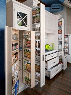 You can store a ton of food in this pantry and still find that can of beans you're looking for. Vertical slide-out shelves maximize the space.
