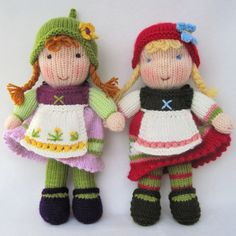 Fern and Flora doll knitting pattern  Waldorf inspired