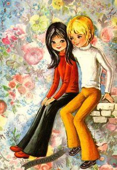 〆(⸅᷇˾ͨ⸅᷆ ˡ᷅ͮ˒) Mod boy and girl having a nice day. Vintage Comics, Vintage 70s, Vintage Images, Cute Romance, Vintage Romance, Vintage Greeting Cards, Vintage Postcards, Sweet Drawings, Old Cards