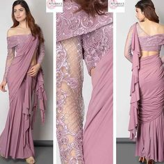 silk blouse designs off shoulder Saree Trendy Sarees, Stylish Sarees, Stylish Dresses, Stylish Dress Book, Saree Designs Party Wear, Party Wear Sarees, Fancy Blouse Designs, Blouse Neck Designs, Saree Jacket Designs Latest