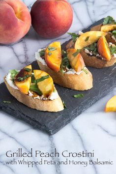 Peach Crostini with Whipped Feta and Honey Balsamic | The Scrumptious Pumpkin