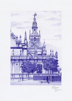 catedral de sevilla Miguel Angel, Urban Sketchers, Building Sketch, House Landscape, Sacred Art, Andalucia, Pencil Drawings, New Art, Sketches