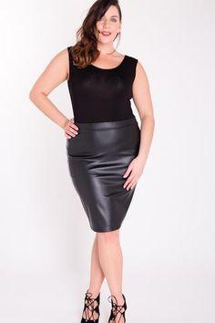 Zip Back PU Skirt