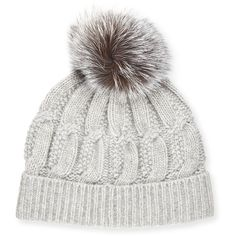 Sofia Cashmere Cable-Knit Cashmere Fur-Pom Beanie Hat (€82) ❤ liked on Polyvore featuring accessories, hats, beanie, head, шапки, grey, gray beanie hat, beanie caps, grey beanie and pom beanie