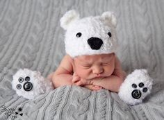 Newborn Baby Crochet Furry Fluffy Polar Bear Hat with Booties Photo Prop